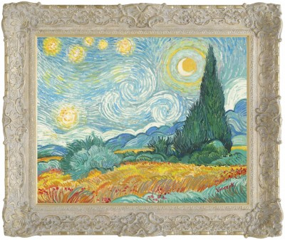 Starry Night with Wheat Field and Cypress Trees image