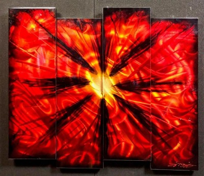 Red Burst 4 Panel Abstract | Chris De Rubeis image